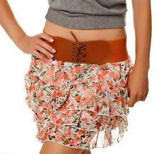 SeXy Miss Damen Mini Rock Flower Volant Stufen Corsagen Gürtel XS-S Girly STYLE