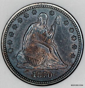 TONED BETTER DATE OLD ANACS MS60 1870 SEATED LIBERTY QUARTER 25c    (BC80)