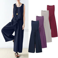 UK Womens Oversize Sleeveless Wide Leg Loose Jumpsuits Baggy Dungrees Playsuits