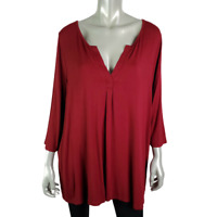Jones New York Womens Top Plus Size 2X Red 3/4 Sleeve V-Neck Pullover Casual