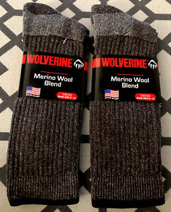 2 New Pairs Brown Wolverine Men's 20% Merino Wool Socks Large size 9-13 USA MADE