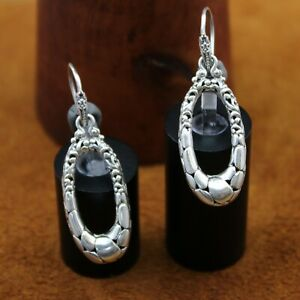 "SARDA Bali Oval ""Pebble"" Filigree Dangle Hook Earrings Sterling Silver 1 13/16"""