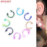 8PCS Mix Acryl Glitters Bauchnabel Nabel Ring Barbell Piercing Schmuck