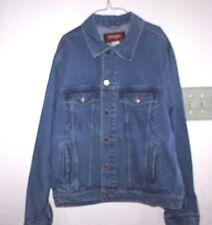 Wrangler Jean Jacket Mens size L Western Coat Farmer Denim Ranch Wear    -HGG