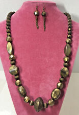 NEW Antiqued Gold & Black Marbled Chunky Beaded Necklace & Earring Set #D46