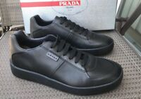 New Men's Prada Black Logo Tab Leather Sneakers. Sz 7 US.  $650