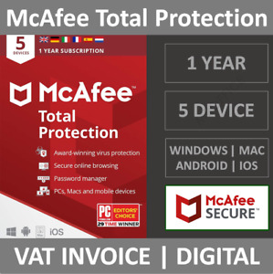 McAfee Total Protection 2021   5 Devices   1 Year   PC/Mac/Phone   Security