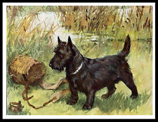SCOTTISH TERRIER WITH FISHING KREEL AND REEL VINTAGE STYLE DOG PRINT POSTER