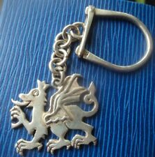 Attractive Sterling Silver Key Ring / Keyring  -  Welsh Dragon