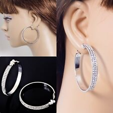 #C100 NON-PIERCED CLIP ON BLING CRYSTAL 5mm Wide 5cm LARGE Circle HOOP EARRINGS