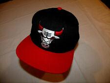 Chicago Bulls Black Hat/Red Brim Mitchell & Ness Adjustable Under Brim Lettering