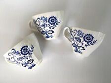 3 x Johnson Bros Blue & White Tea Cups - ENGLAND Nordic Vintage Retro As New