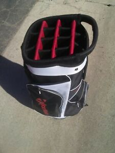 Taylormade Cart Bag 14 Way Blac Red And White 5 Zippable Pockets