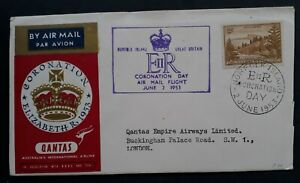 1953 Norfolk Island Coronation of QE2 QANTAS Airmail to London FDC 2/- stamp