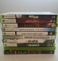Microsoft Xbox 360 Lot Of 10 Halo 1 & 2 Skate 1 & 3 Sonic, Ninja Free Shipping