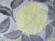 "SANDERSON CURTAIN/UPHOLSTERY FABRIC DESIGN ""Ceres Velvet"" 0.58 M LIME/CHARCOAL"