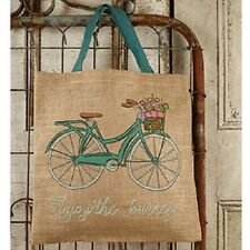 """Pretty Primitive Country Rustic """" ENJOY THE JOURNEY """" Bicycle Burlap Tote Bag"""
