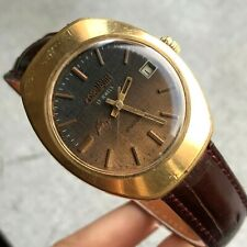 Vintage Poljot CORNAVIN Swordfish Brown Jeans Formal Gold Plated Watch USSR 18k