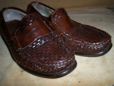 Cole Haan 10.5M Dennehy Woven Leather Penny Loafer 5 Retail Chestnut Brown