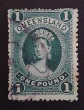 1895 QUEENSLAND £1 ONE POUND DEEP GREEN CHALON SG165 perf 12 W6