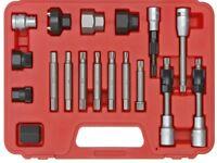 "18pc Alternator Bit Set 1/2"" Hex Torx Spline Bosch Pulley Remover Universal Kit"