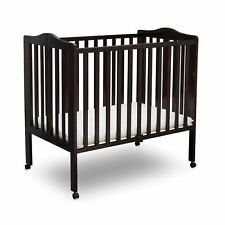 Delt 00002000 a Children Folding Portable Mini Baby Crib with 1.5-inch Mattress, Dark C.