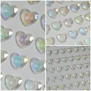 AB HEARTS Self Adhesive Craft Diamante Rhinestone Gems Stick on Irridescent