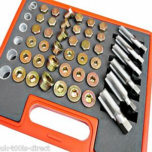 114pc Oil Pan Thread Repair Kit Sump Gearbox Drain Plug Tool Set