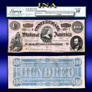 CONFEDERATE STATES of America 1864 $100 T-65 Civil War Era LEGACY VF 30