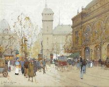 La Place du Chatelet Eugene Galien Laloue france french street scene 24' toile
