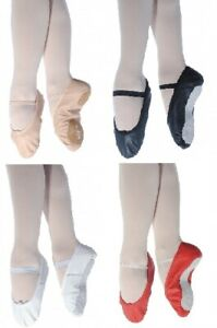Dance Depot Classic Premium Full leather Ballet Shoes Girls Womens Ladies Suede