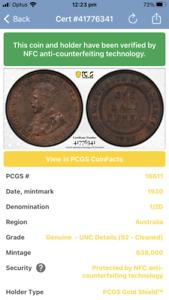1930 PCGS Genuine Cleaned-Uncirculated Detail Australian half Penny