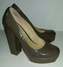 MIA mink brown patent leather look chunky heel platform pumps. 9.5