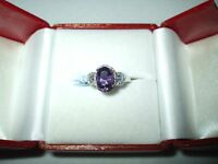 Genuine 1.22 ct Amethyst & Diamond Ring 14K white gold $1300 NWT