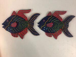 Tropical Fish Plaque Resin Colorful Red Purple Glitter Children Kids Decor