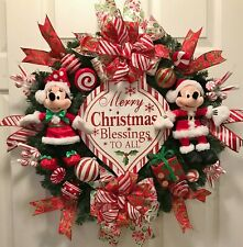 SANTA CHRISTMAS MICKEY & MINNIE MOUSE~DISNEY PLAQUE~WINTER DOOR WREATH