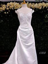 Gorgeous A-Line Wedding Dress Satin Lace White size 14 off shoulder FLATTERING!
