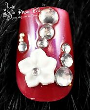 70% OFF!!! Japanese Plum Bloosom Red Crystal Nail Tips 24pcs Universal