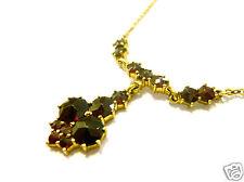Granatcollier Goldcollier 333er Gold 333 Granat Kette Collier Gelbgold 43 cm