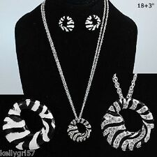 Zebra Round Crystal Chic Black White Zoo Safari Gift New Necklace Earrings #73-D