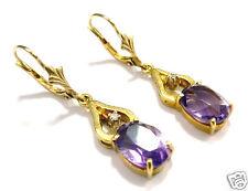 Goldohrhänger Amethyst oval und Diamant 585 er Gold Ohrringe Ohrhänger Gelbgold