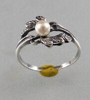 9901043 925er Silber Floraler Ring mit Perle Gr. 50
