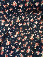 Vintage Floral Printed GEORGETTE Skirt Fabric Bridesmaid Stages Crafts BLUE