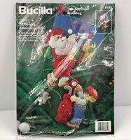 """Vtg  Bucilla Golfing Santa Felt Applique 18"""" Christmas Stocking 83383 Kit 1996"""