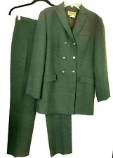 Zara Suit Double Breast Blazer & Straight Leg Pant Size 4 Charcoal Stretch Blend