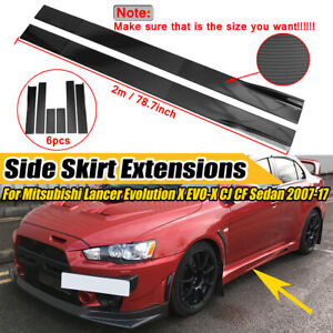 2m Carbon Style Side Skirt Extension For Mitsubishi Lancer Evolution X EVO-X