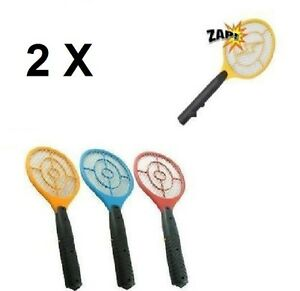 2 X New Fly Bug Zapper Bats 2 Electric Fly Swatters Flying Insect Zap Bat  new