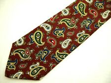 "Brooks Brothers Makers Mens Necktie Tie Burgundy Red Blue Paisley 64"" XL Long"