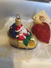 Patricia Breen Designs 2 Piece Mr & Mrs Santa Slieigh Christmas Olnament