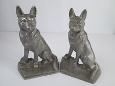 "Vintage Bookends German Shepard Cast Iron- mixed metals - 2 Piece Set 9"" Tall"